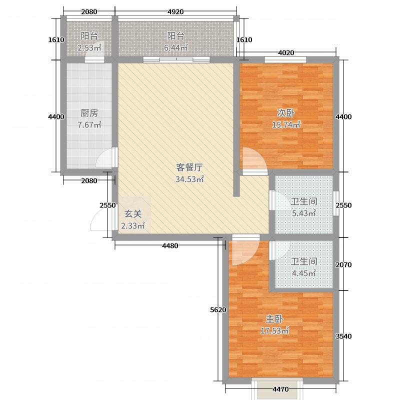 京华佳苑115.50㎡A1户型2室2厅2卫1厨