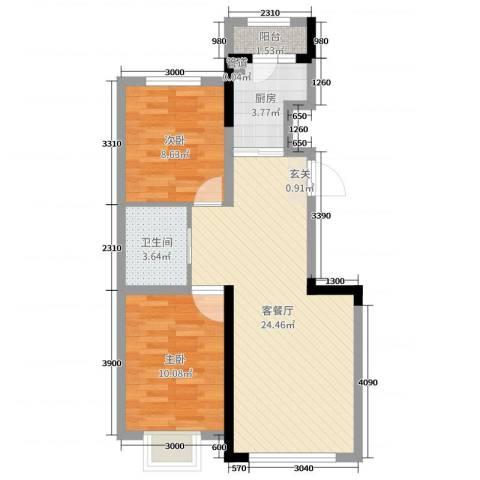新星宇和源二期塞纳2室2厅1卫1厨80.00㎡户型图