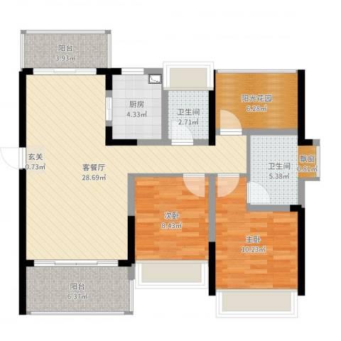 金山湖江湾公馆(一期)2室2厅2卫1厨95.00㎡户型图