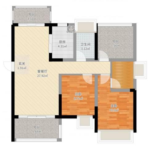 江湾公馆(一期)2室2厅1卫1厨94.00㎡户型图