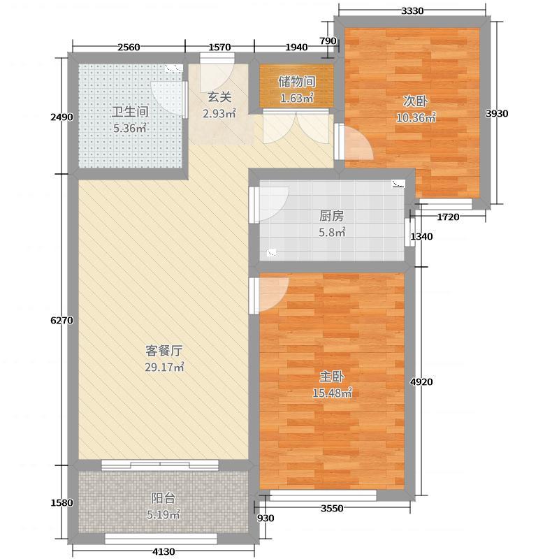 乾园91.39㎡10#标准层B户型2室2厅1卫1厨