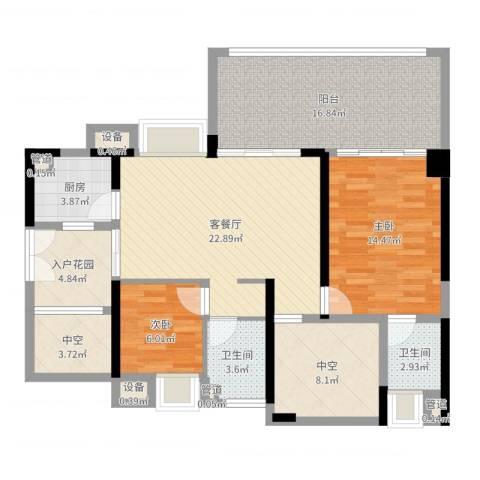 深业东城上邸2室2厅2卫1厨111.00㎡户型图
