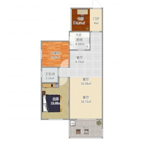 国际佳缘2室1厅1卫1厨102.00㎡户型图