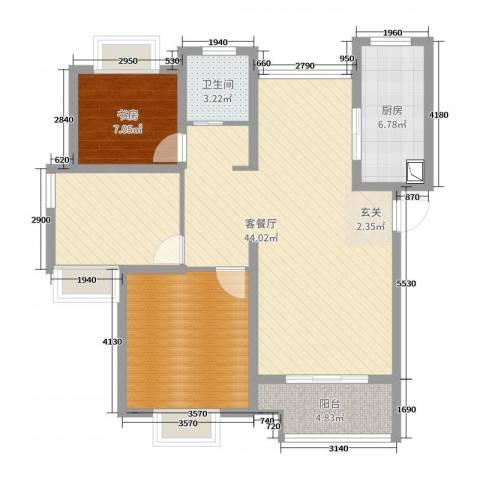 万业紫辰苑1室2厅1卫1厨100.00㎡户型图