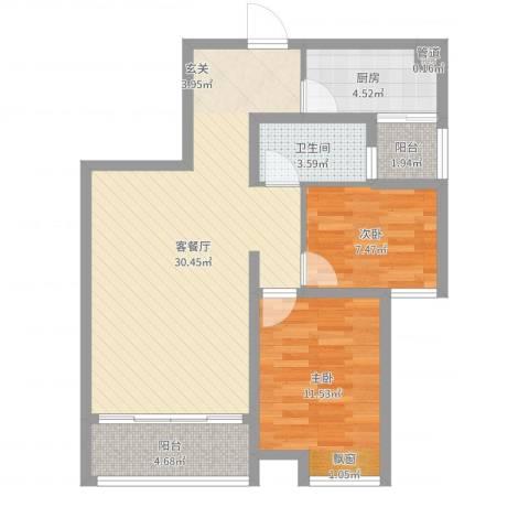 拓基沃野花园2室2厅1卫1厨80.00㎡户型图