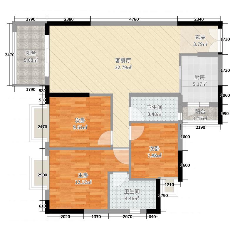 丽日君颐家园111.04㎡5栋标准层04户型3室3厅2卫1厨