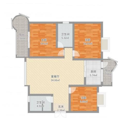 中华世纪城3室2厅2卫1厨126.00㎡户型图