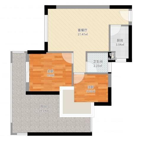 尚书苑2室2厅1卫1厨69.00㎡户型图