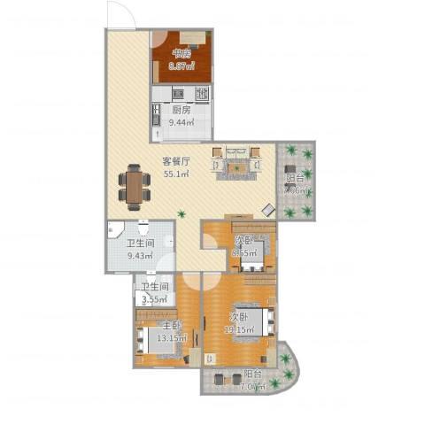 永成大厦4室2厅2卫1厨177.00㎡户型图