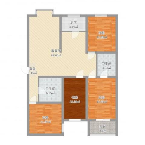 教授花园4室2厅2卫1厨139.00㎡户型图