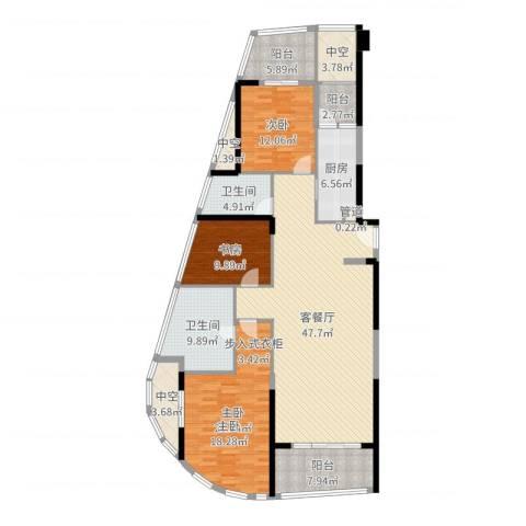 前海华侨城大酒店・华寓3室2厅2卫1厨173.00㎡户型图