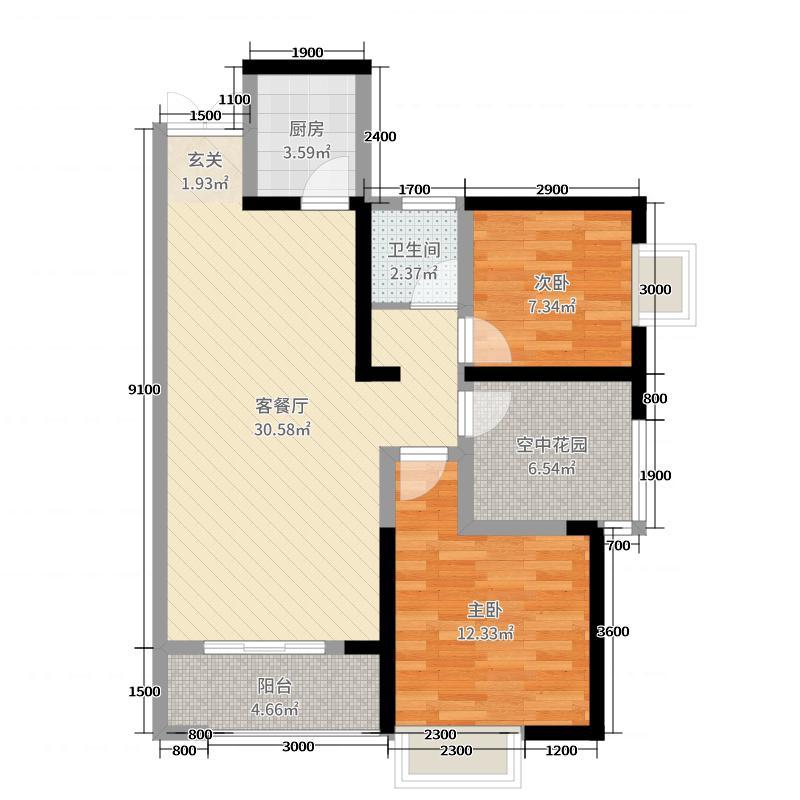 湖湾世景90.15㎡7、8号栋A3户型2室2厅1卫1厨