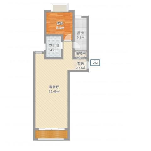 新凤城银座公寓1室2厅1卫1厨72.00㎡户型图