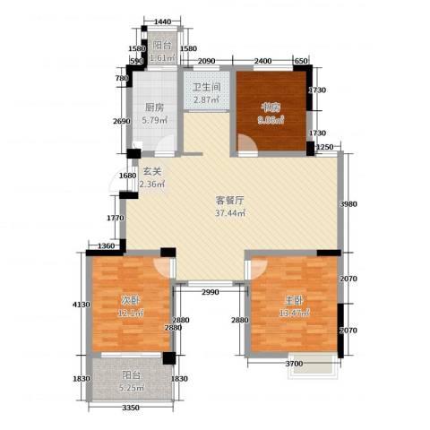东方威尼斯3室2厅1卫1厨108.00㎡户型图