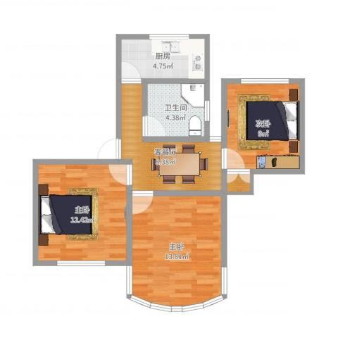 东陆新村六街坊3室2厅1卫1厨67.00㎡户型图