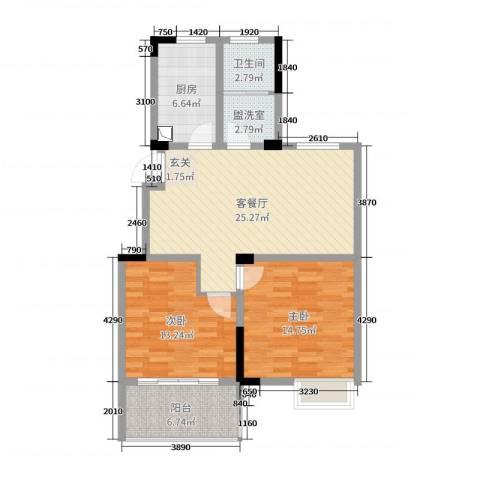 东方威尼斯2室2厅1卫1厨88.00㎡户型图