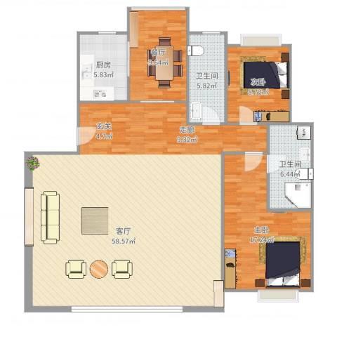 靳江明珠2室1厅2卫1厨152.00㎡户型图
