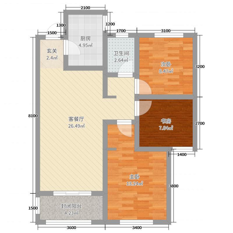 鲁商金悦城104.00㎡6#楼中间户B户型3室3厅1卫1厨