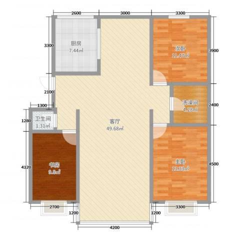 首府洋房3室1厅1卫2厨124.00㎡户型图