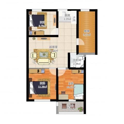 凤鸣郡3室1厅1卫1厨87.00㎡户型图