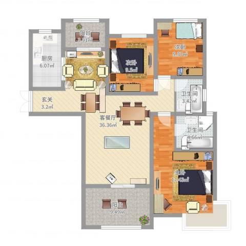 康和西岸3室2厅2卫1厨125.00㎡户型图