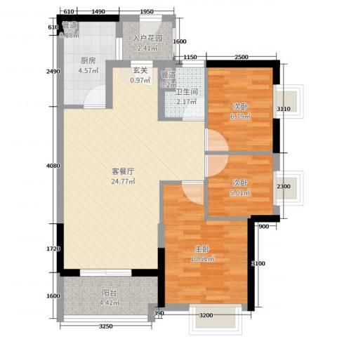 时代廊桥3室2厅1卫1厨85.00㎡户型图