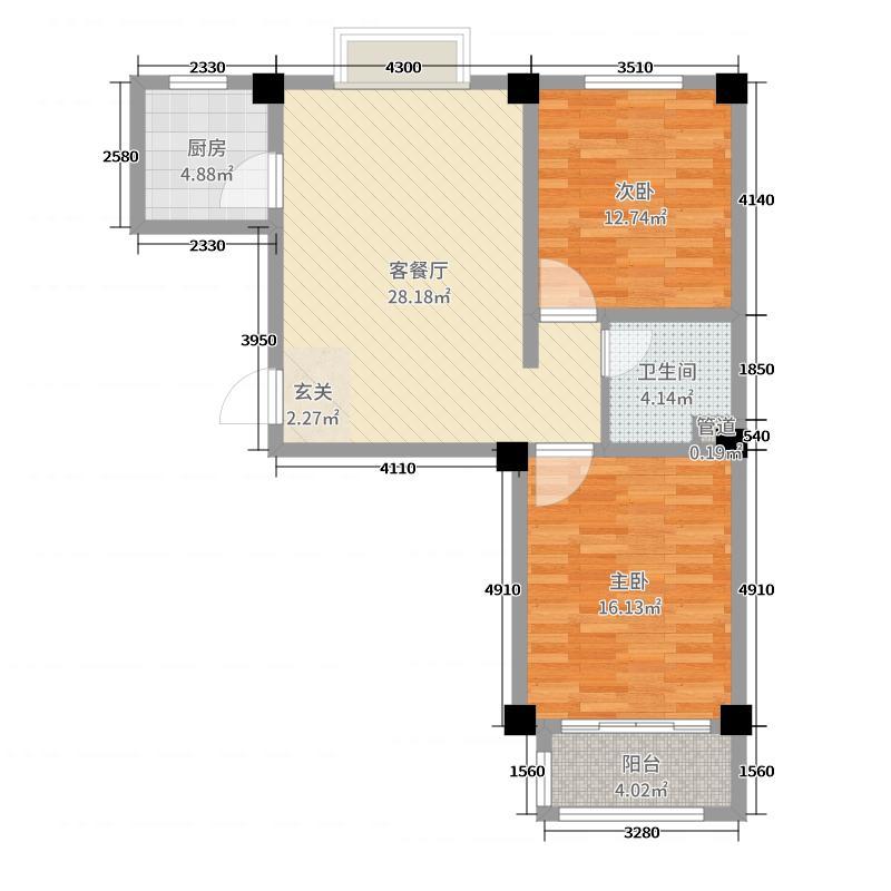 小城故事87.88㎡一期多层户型2室2厅1卫1厨