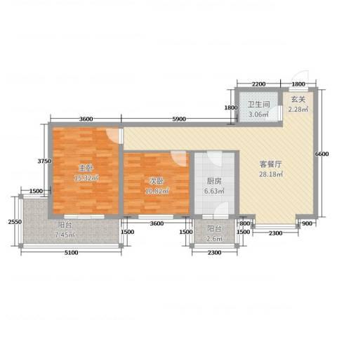 太原文兴苑2室2厅1卫1厨74.06㎡户型图