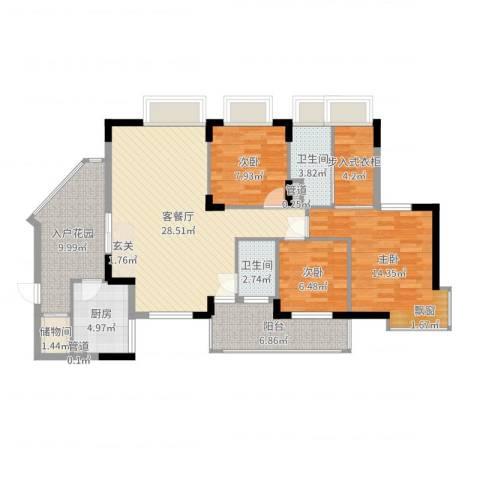 润碧康城二期3室2厅2卫1厨115.00㎡户型图