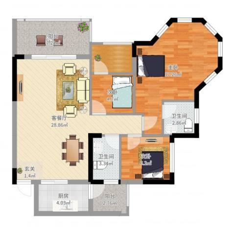 金海岸花园3室2厅2卫1厨101.00㎡户型图