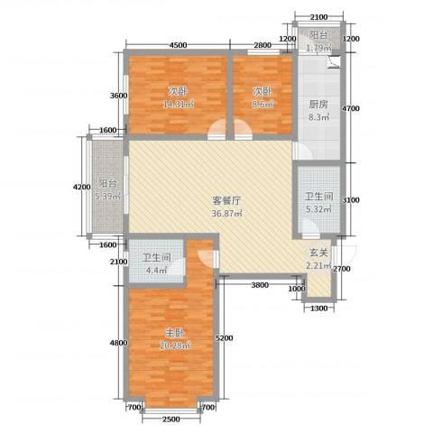 太原文兴苑3室2厅2卫1厨105.26㎡户型图