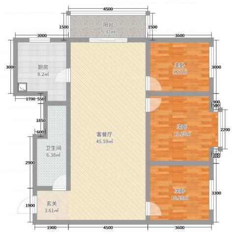 太原文兴苑3室2厅1卫1厨98.37㎡户型图