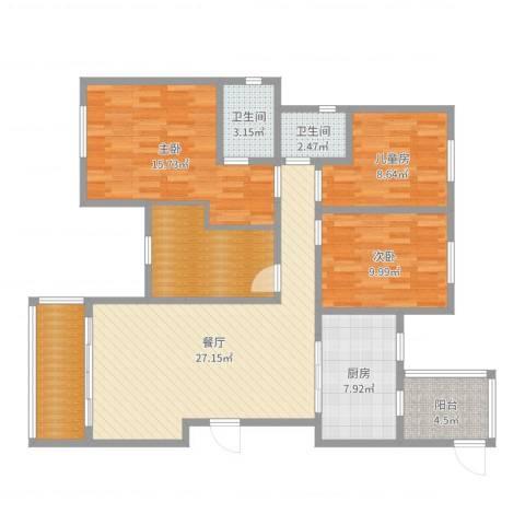 远大都市风景三期3室1厅2卫1厨116.00㎡户型图