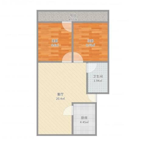 馨园小区2室1厅1卫1厨63.00㎡户型图