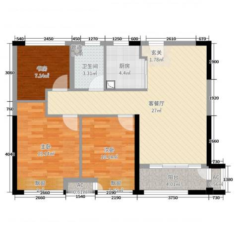 新城公馆荣域3室2厅1卫1厨88.00㎡户型图