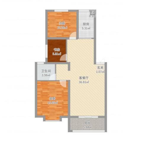 金世・现代城3室2厅1卫1厨105.00㎡户型图