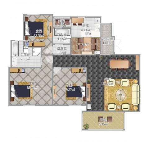 世纪城龙慈苑3室5厅2卫1厨155.00㎡户型图