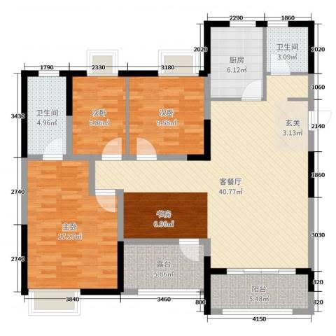 保利中央公园3室2厅2卫1厨125.00㎡户型图