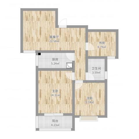 熙城都会3室2厅1卫1厨83.00㎡户型图