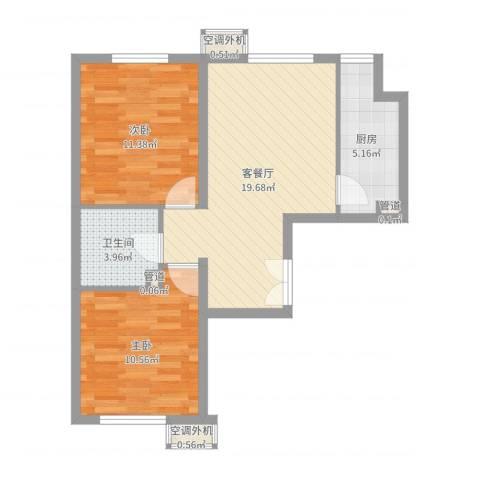 明天第一城8号院2室2厅1卫1厨65.00㎡户型图