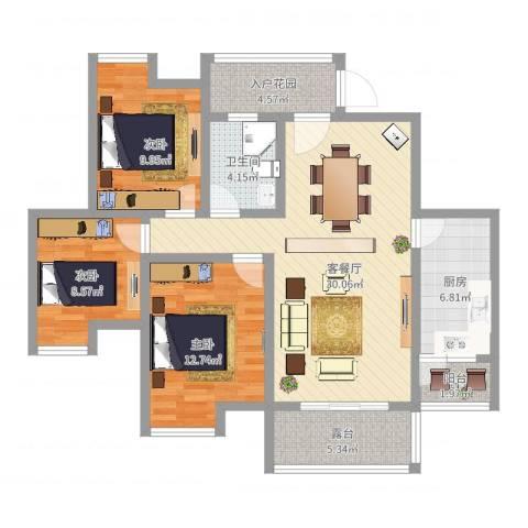 福康瑞琪曼国际社区3室2厅1卫1厨123.00㎡户型图