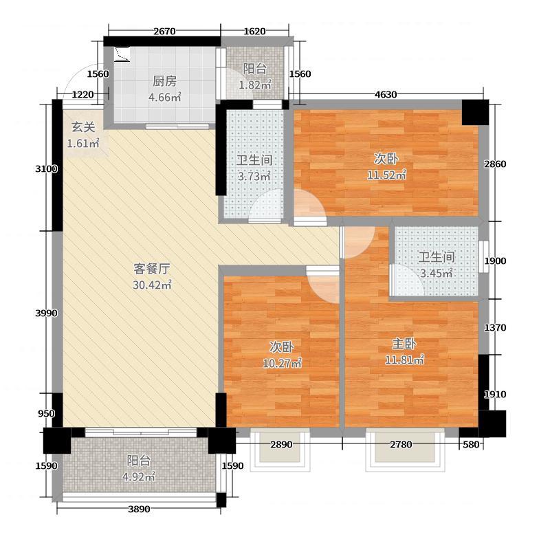 亲水湾103.32㎡2#D6户型3室3厅2卫1厨