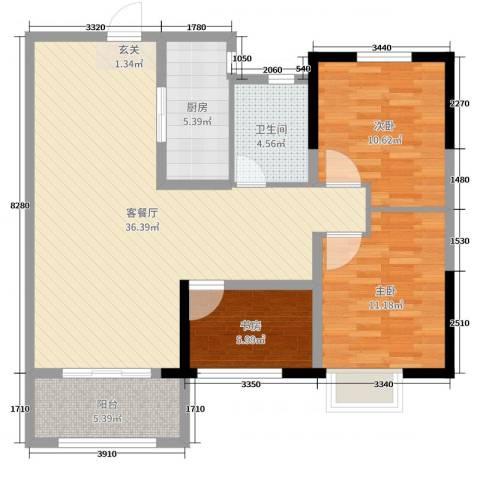 保利中央公园3室2厅1卫1厨99.00㎡户型图