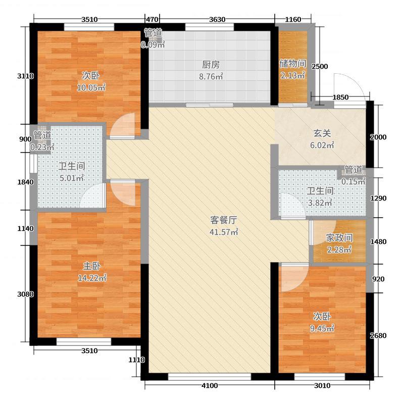 万科铁西蓝山139.00㎡户型3室3厅2卫1厨