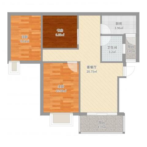 金域蓝郡3室2厅1卫1厨76.00㎡户型图
