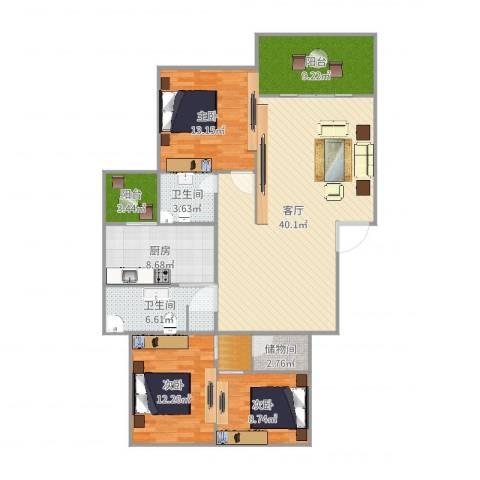 万科麓山(万科天泰金域国际二期)3室1厅2卫1厨138.00㎡户型图