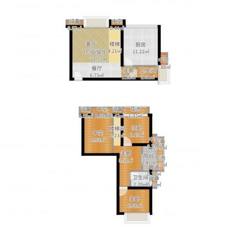 金地自在城2室2厅2卫1厨98.00㎡户型图