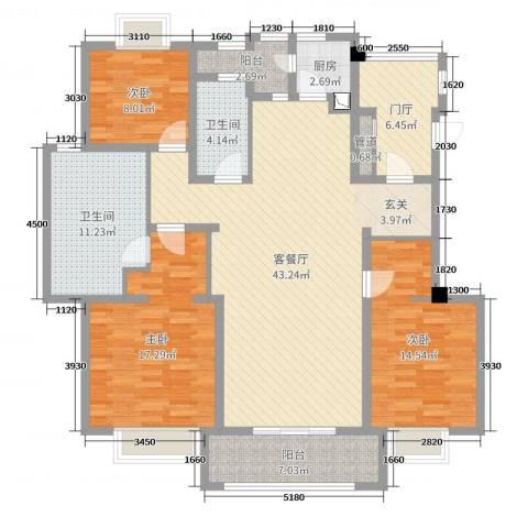 月亮湾3号三期3室2厅2卫1厨148.00㎡户型图