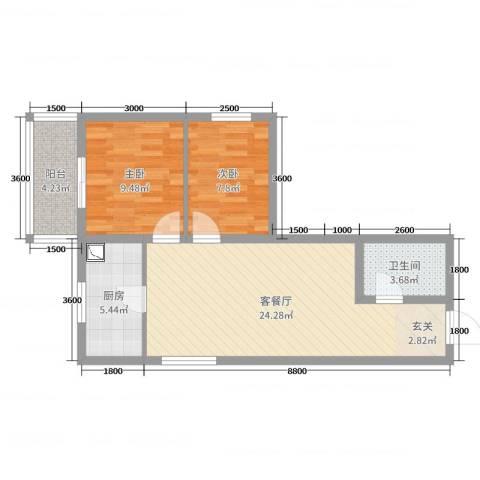 太原文兴苑2室2厅1卫1厨54.91㎡户型图