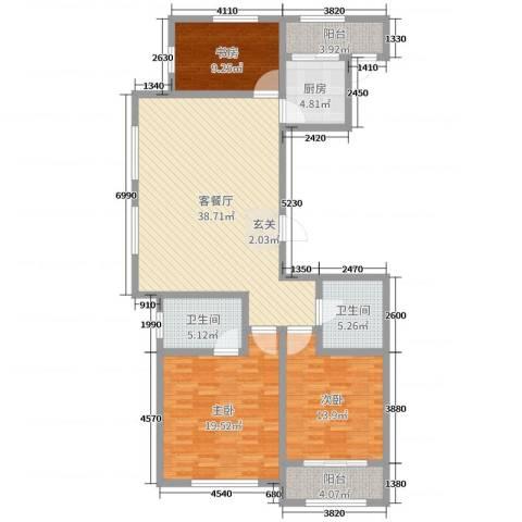 御庭园3室2厅2卫1厨131.00㎡户型图
